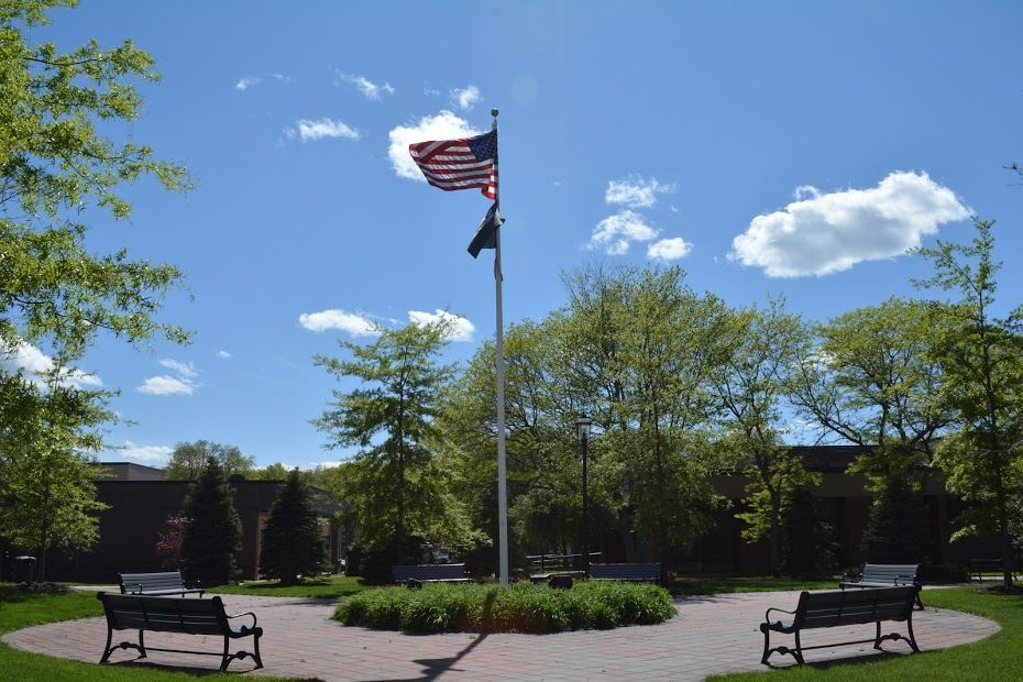 Flagpole and Benches