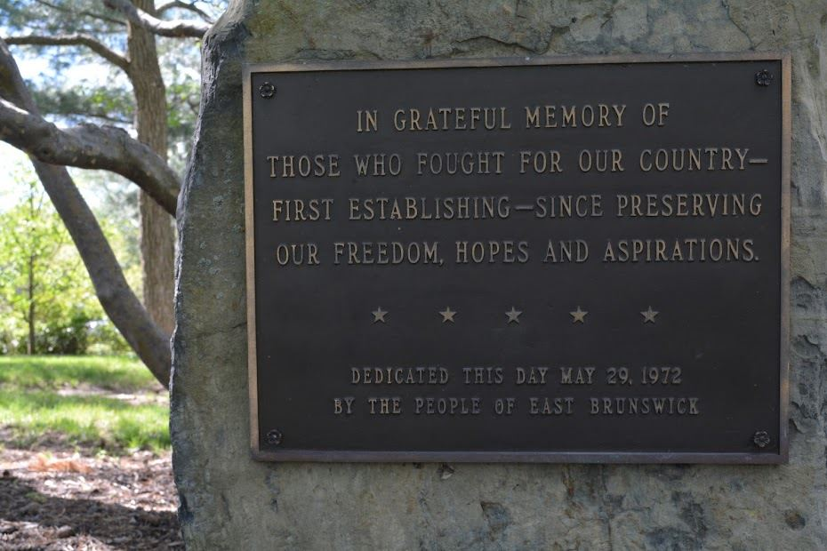"Memorial Plaque: ""In Grateful Memory of Those Who Fought for Our Country First Establishing - Since Preserving - Our Freedom, Hopes and Aspirations"""