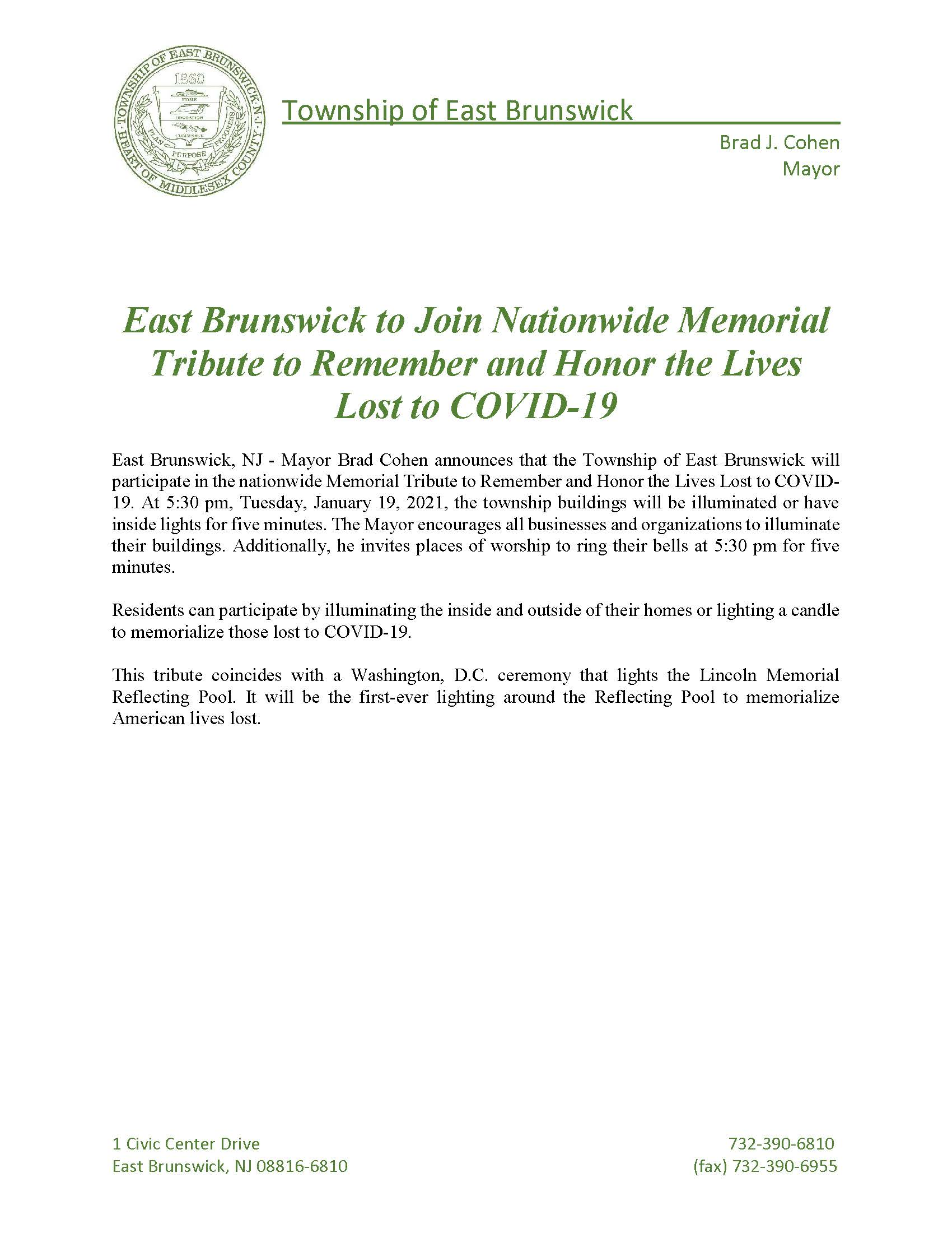 Mayor Statement on COVID Memorial